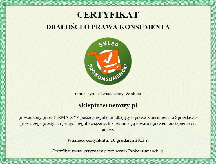 prokonsumencki certyfikat