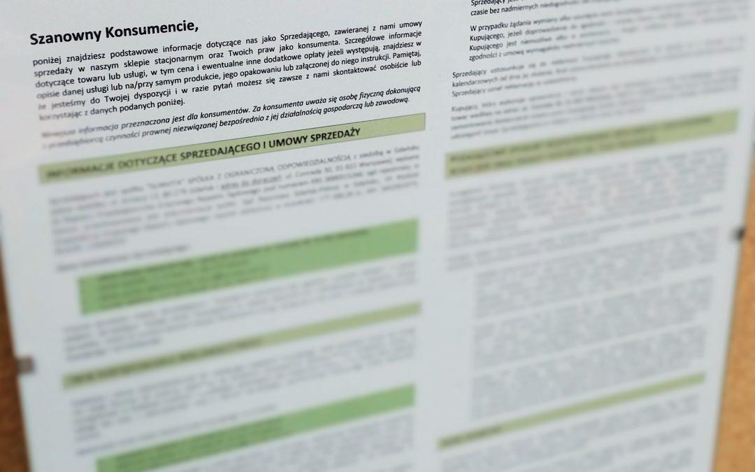 Obowiązki informacyjne w sklepie stacjonarnym zgodnie z Ustawą o prawach konsumenta oraz Rozporządzeniem RODO (tablica informacyjna dla sklepu stacjonarnego)