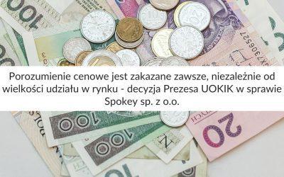 Porozumienie cenowe jest zakazane zawsze, niezależnie od wielkości udziału w rynku – decyzja Prezesa UOKIK w sprawie Spokey sp. z o.o.
